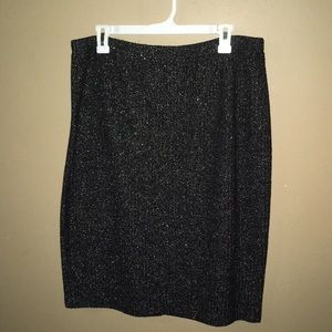 St. John Evening Skirt Black Silver Knit NWT 14